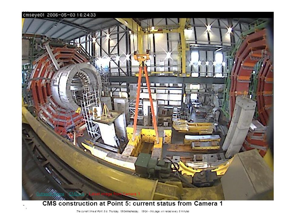 CMS construction at Point 5: current status from Camera 1