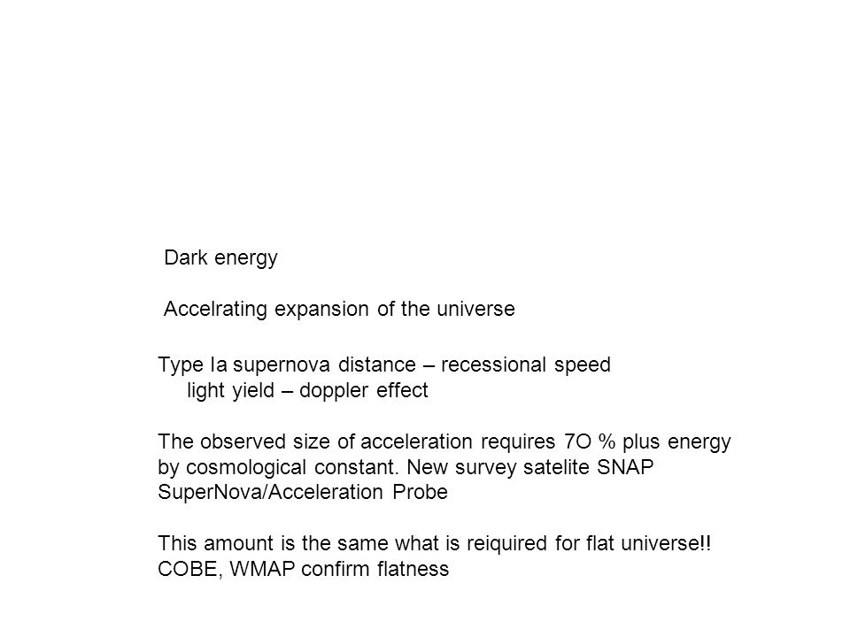 Dark energy Accelrating expansion of the universe. Type Ia supernova distance – recessional speed.