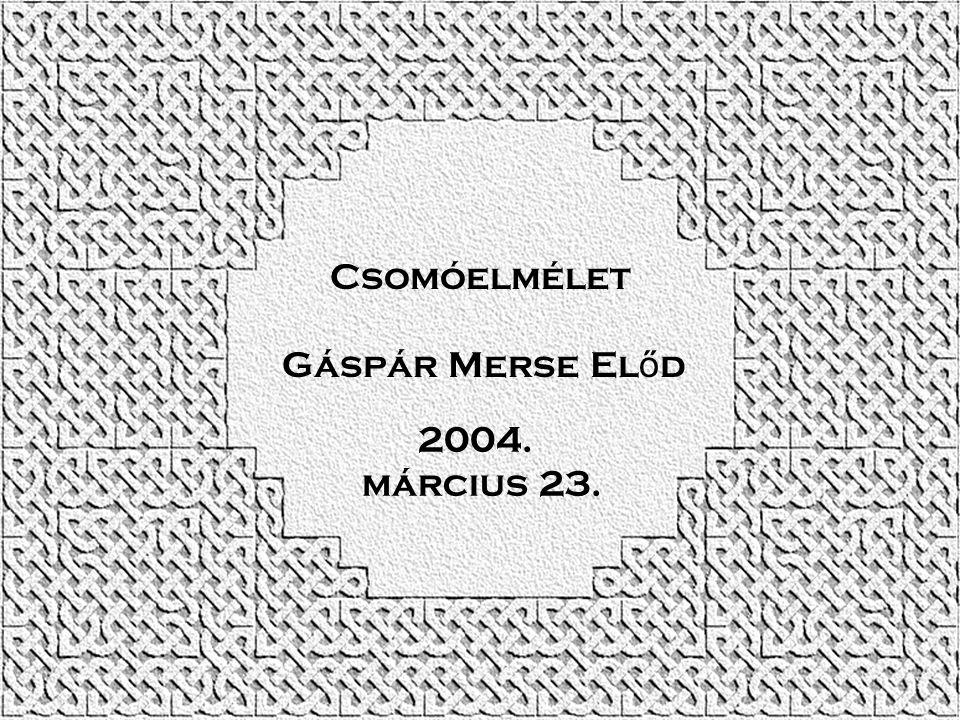 Csomóelmélet Gáspár Merse Előd 2004. március 23.