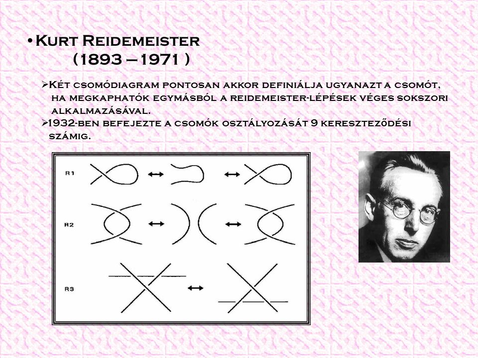 Kurt Reidemeister (1893 –1971 ) Két csomódiagram pontosan akkor definiálja ugyanazt a csomót,