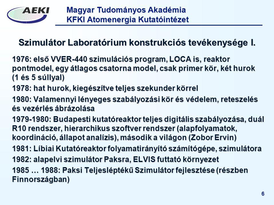 Szimulátor Laboratórium konstrukciós tevékenysége I.