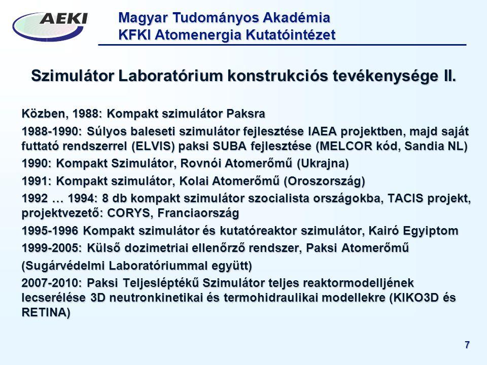 Szimulátor Laboratórium konstrukciós tevékenysége II.