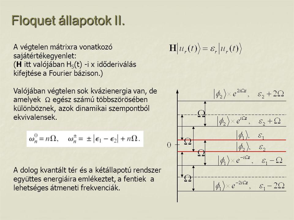 Floquet állapotok II. A végtelen mátrixra vonatkozó sajátértékegyenlet: (H itt valójában HS(t) -i x időderiválás kifejtése a Fourier bázison.)