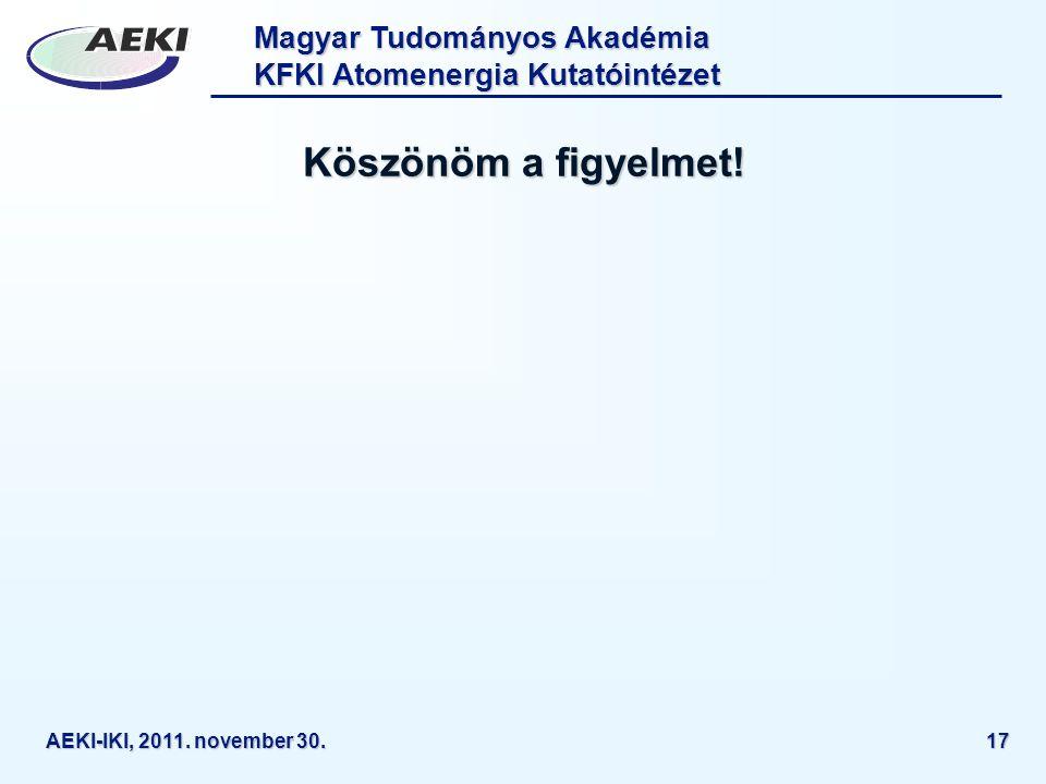Köszönöm a figyelmet! AEKI-IKI, 2011. november 30.