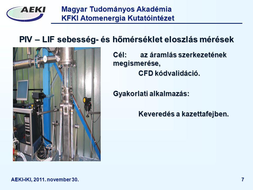 PIV – LIF sebesség- és hőmérséklet eloszlás mérések