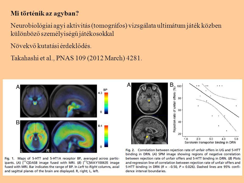 Mi történik az agyban Neurobiológiai agyi aktivitás (tomográfos) vizsgálata ultimátum játék közben különböző személyiségű játékosokkal.