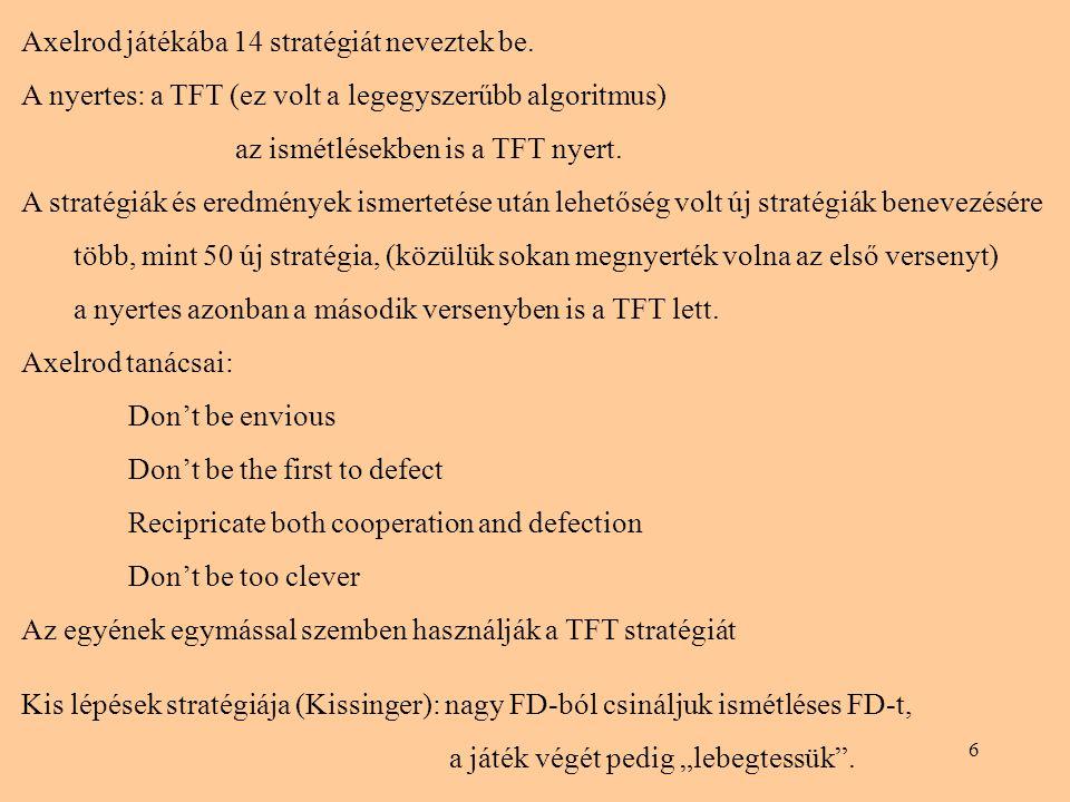 Axelrod játékába 14 stratégiát neveztek be.