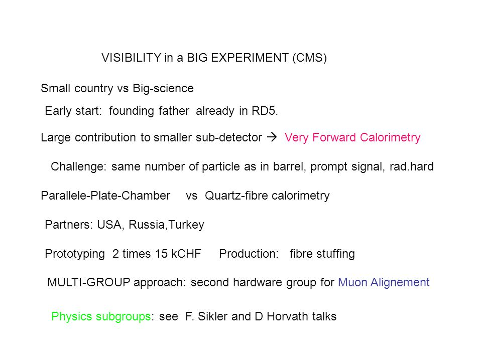 VISIBILITY in a BIG EXPERIMENT (CMS)