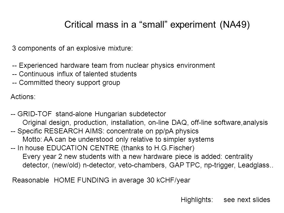Critical mass in a small experiment (NA49)