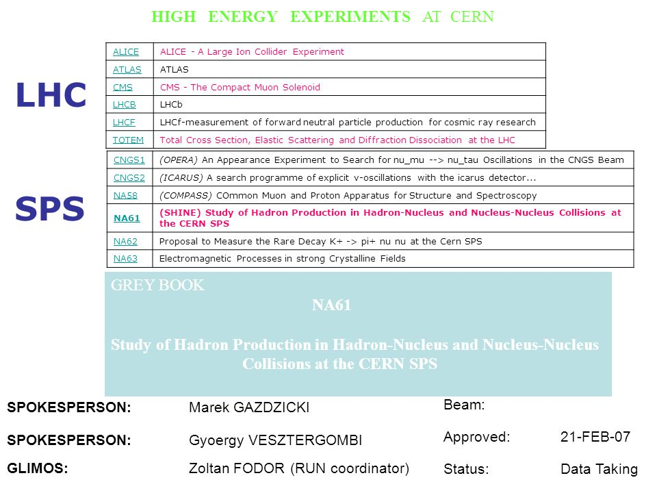 LHC SPS HIGH ENERGY EXPERIMENTS AT CERN GREY BOOK NA61