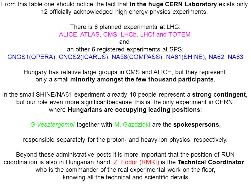 12 officially acknowledged high energy physics experiments.