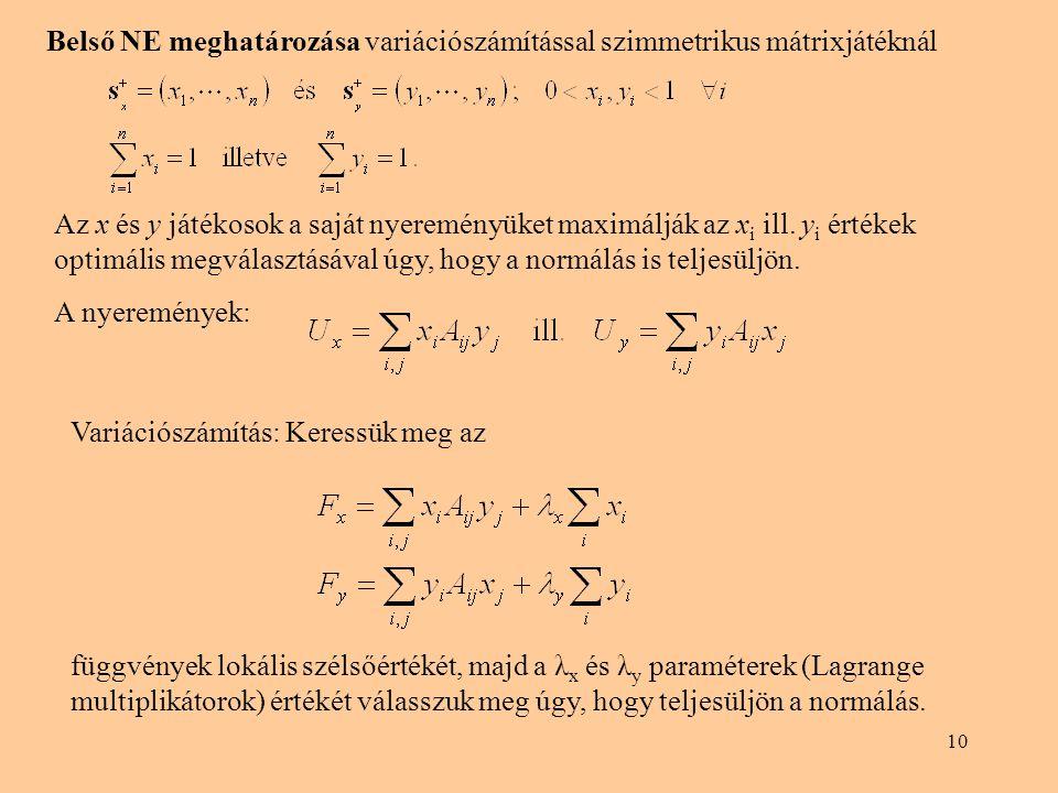 Belső NE meghatározása variációszámítással szimmetrikus mátrixjátéknál