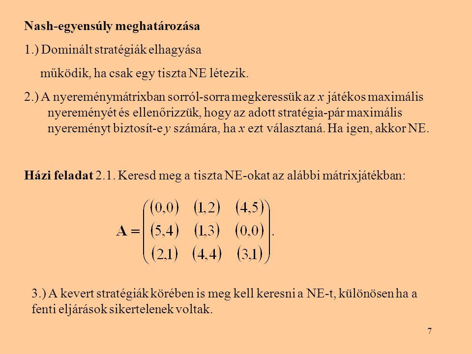 Nash-egyensúly meghatározása
