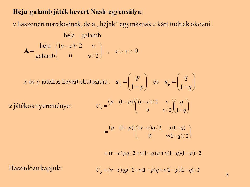 Héja-galamb játék kevert Nash-egyensúlya: