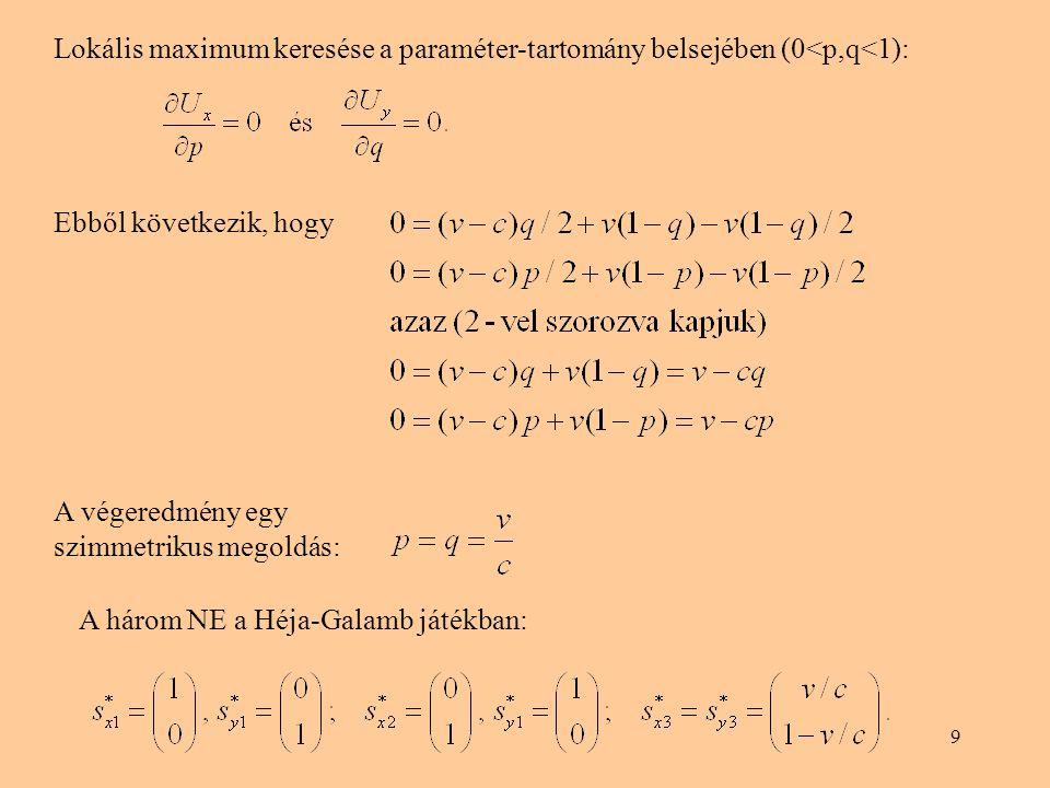 Lokális maximum keresése a paraméter-tartomány belsejében (0<p,q<1):
