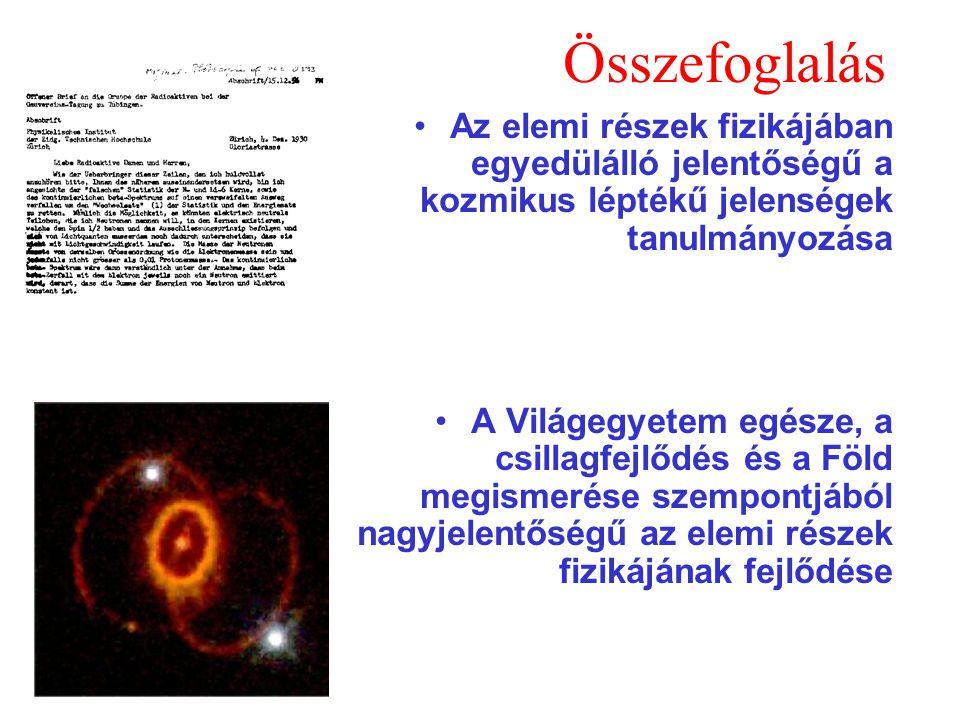 Összefoglalás Az elemi részek fizikájában egyedülálló jelentőségű a kozmikus léptékű jelenségek tanulmányozása.
