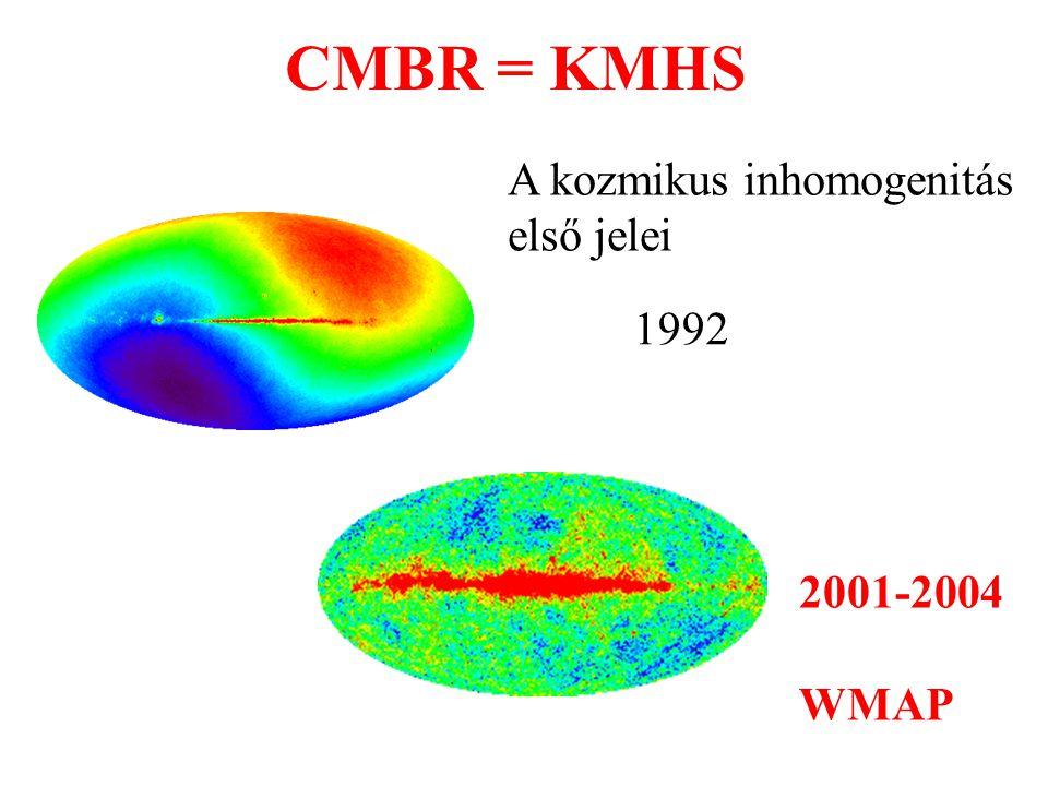 CMBR = KMHS A kozmikus inhomogenitás első jelei 1992 2001-2004 WMAP