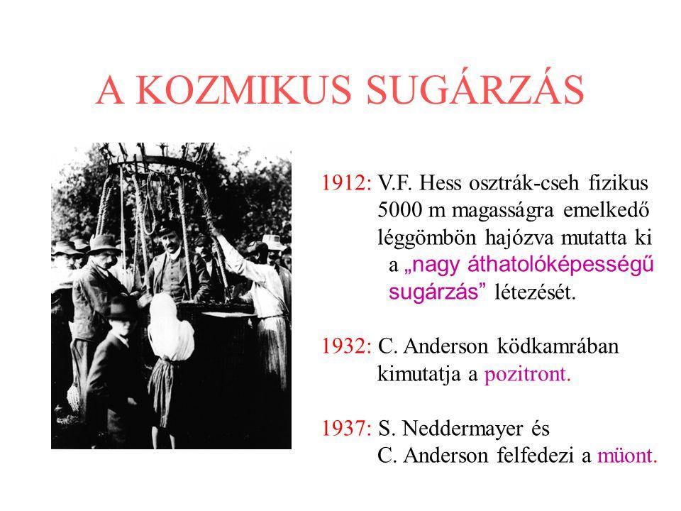 A KOZMIKUS SUGÁRZÁS 1912: V.F. Hess osztrák-cseh fizikus