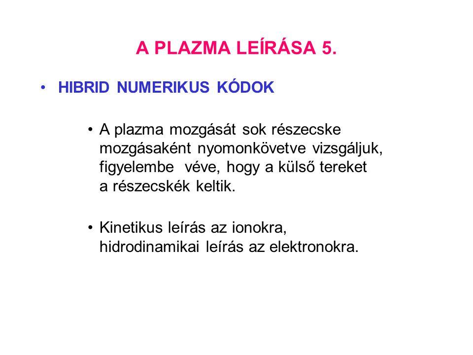A PLAZMA LEÍRÁSA 5. HIBRID NUMERIKUS KÓDOK