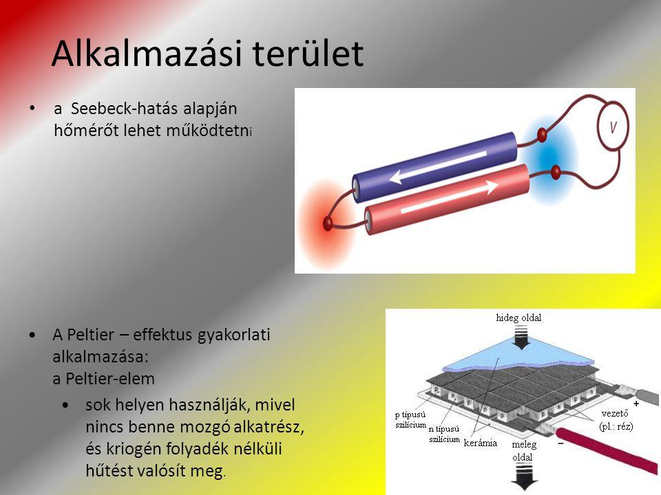 Alkalmazási terület a Seebeck-hatás alapján hőmérőt lehet működtetni