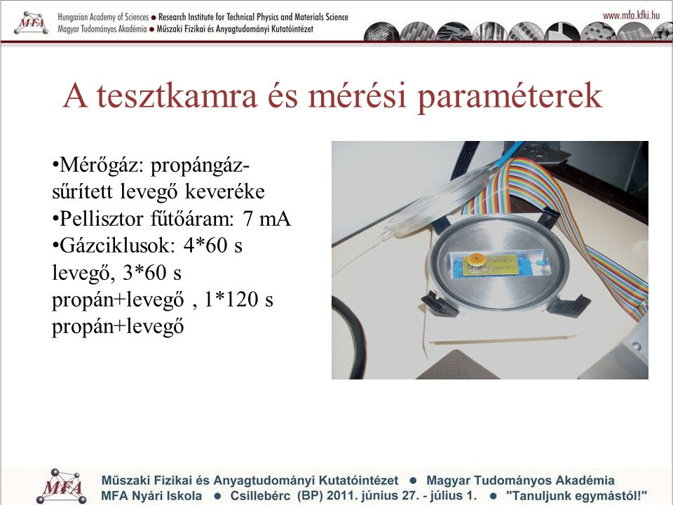 A tesztkamra és mérési paraméterek