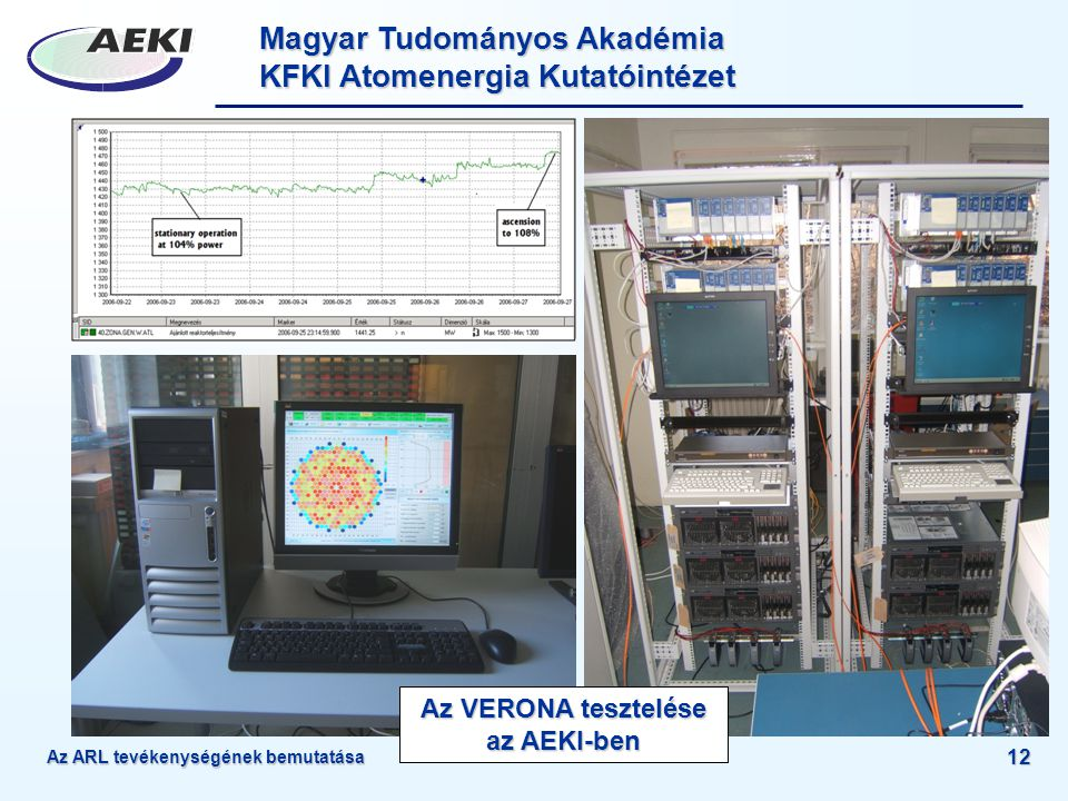 Az VERONA tesztelése az AEKI-ben
