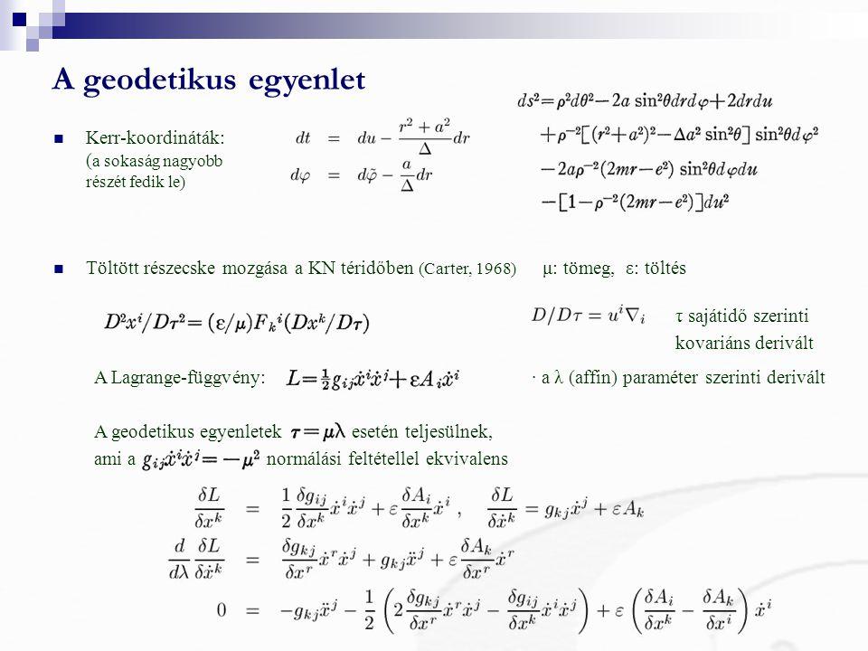 A geodetikus egyenlet Kerr-koordináták: (a sokaság nagyobb részét fedik le)
