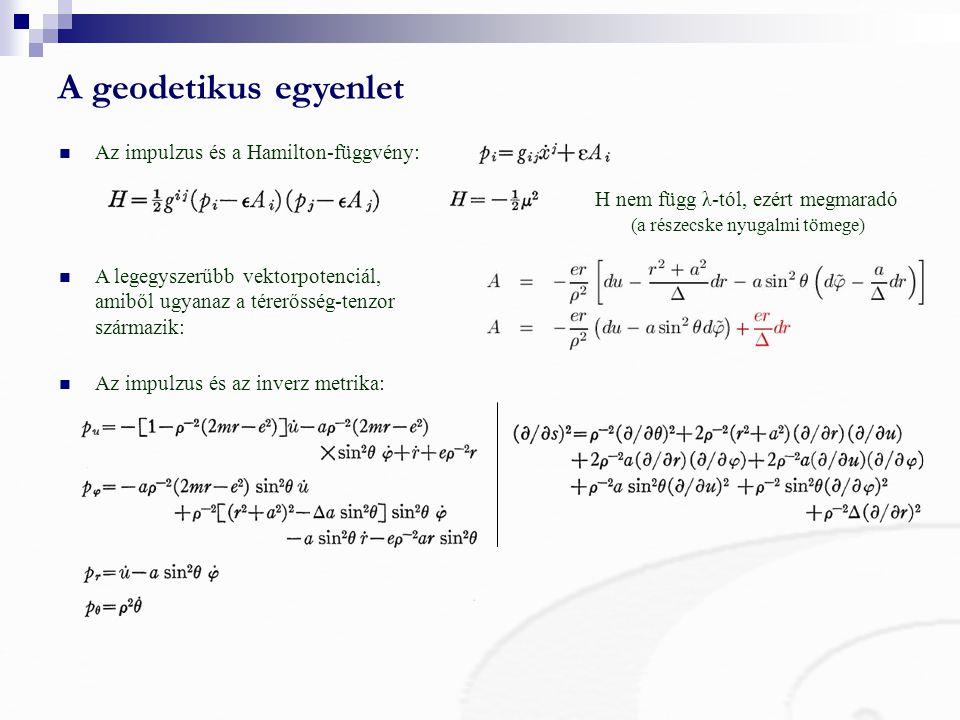 A geodetikus egyenlet Az impulzus és a Hamilton-függvény:
