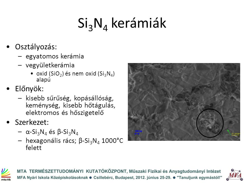 Si3N4 kerámiák Osztályozás: Előnyök: Szerkezet: egyatomos kerámia