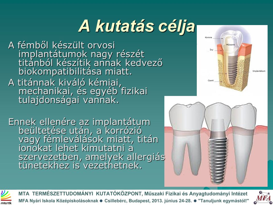 A kutatás célja A fémből készült orvosi implantátumok nagy részét titánból készítik annak kedvező biokompatibilitása miatt.