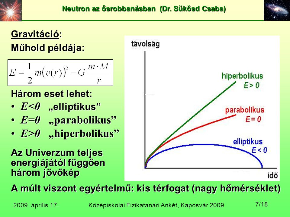 """E<0 """"elliptikus E=0 """"parabolikus E>0 """"hiperbolikus"""