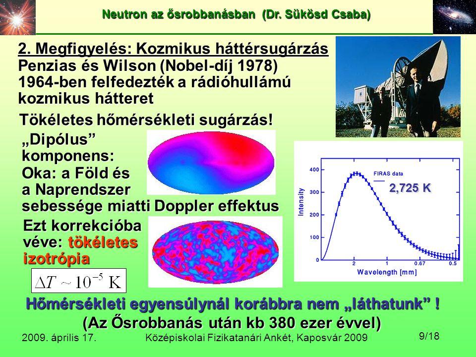 2. Megfigyelés: Kozmikus háttérsugárzás