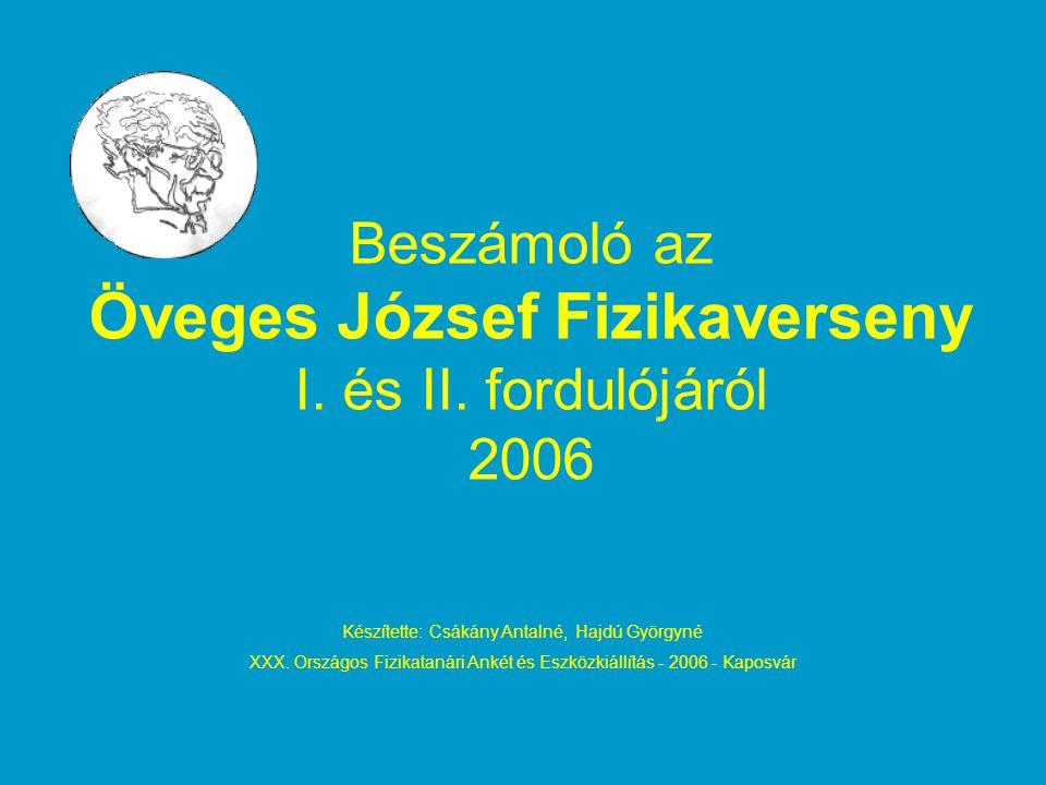 Beszámoló az Öveges József Fizikaverseny I. és II. fordulójáról 2006