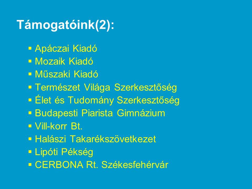 Támogatóink(2): Apáczai Kiadó Mozaik Kiadó Műszaki Kiadó