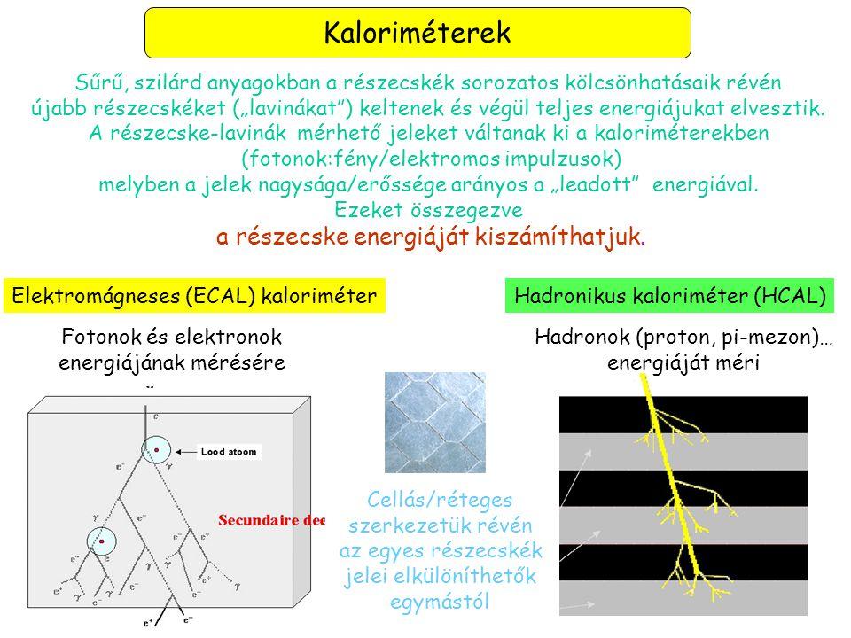 Kaloriméterek a részecske energiáját kiszámíthatjuk.
