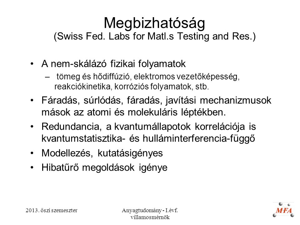 Megbizhatóság (Swiss Fed. Labs for Matl.s Testing and Res.)