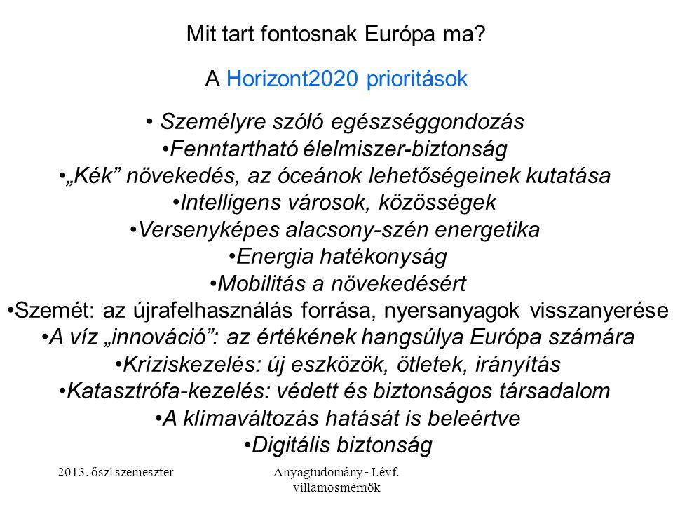 Mit tart fontosnak Európa ma A Horizont2020 prioritások