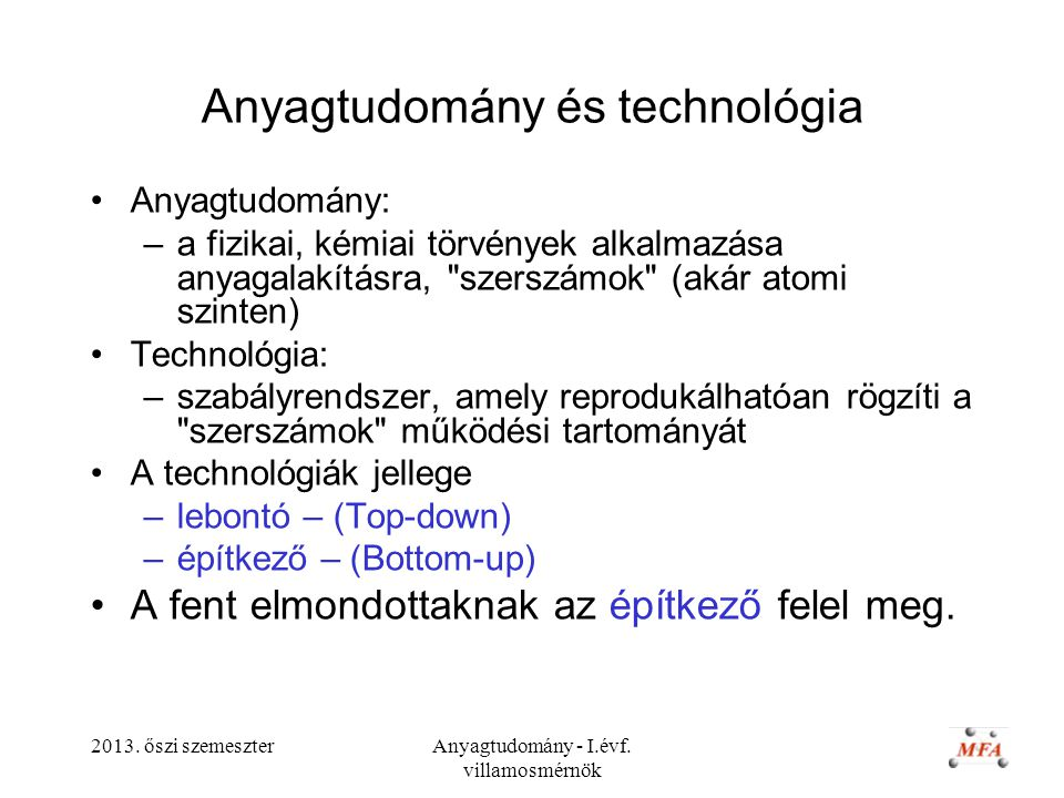 Anyagtudomány és technológia