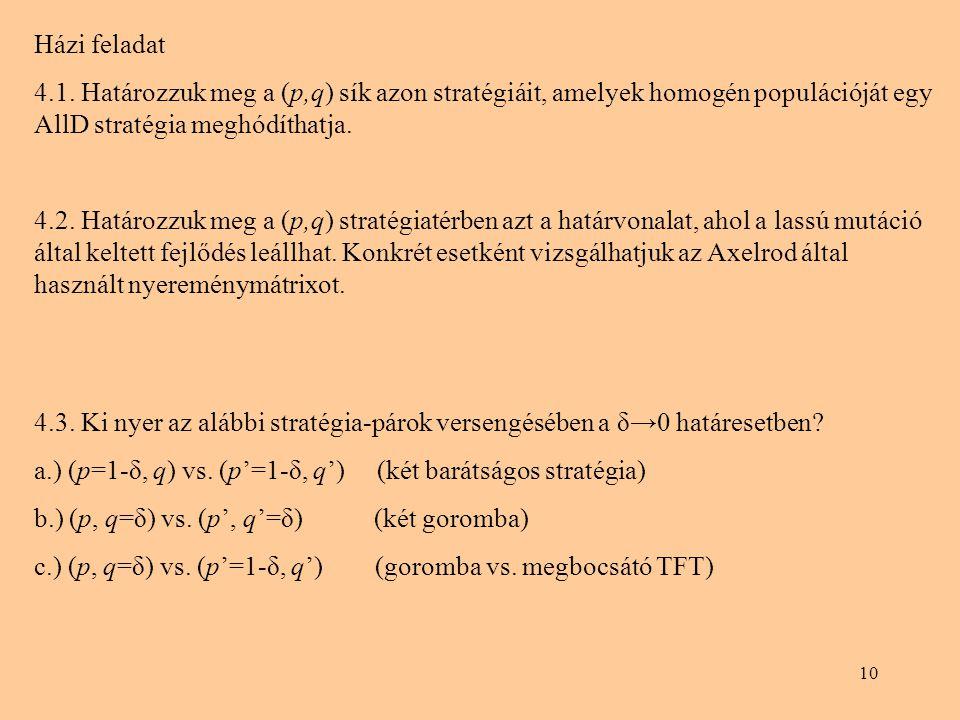 Házi feladat 4.1. Határozzuk meg a (p,q) sík azon stratégiáit, amelyek homogén populációját egy AllD stratégia meghódíthatja.