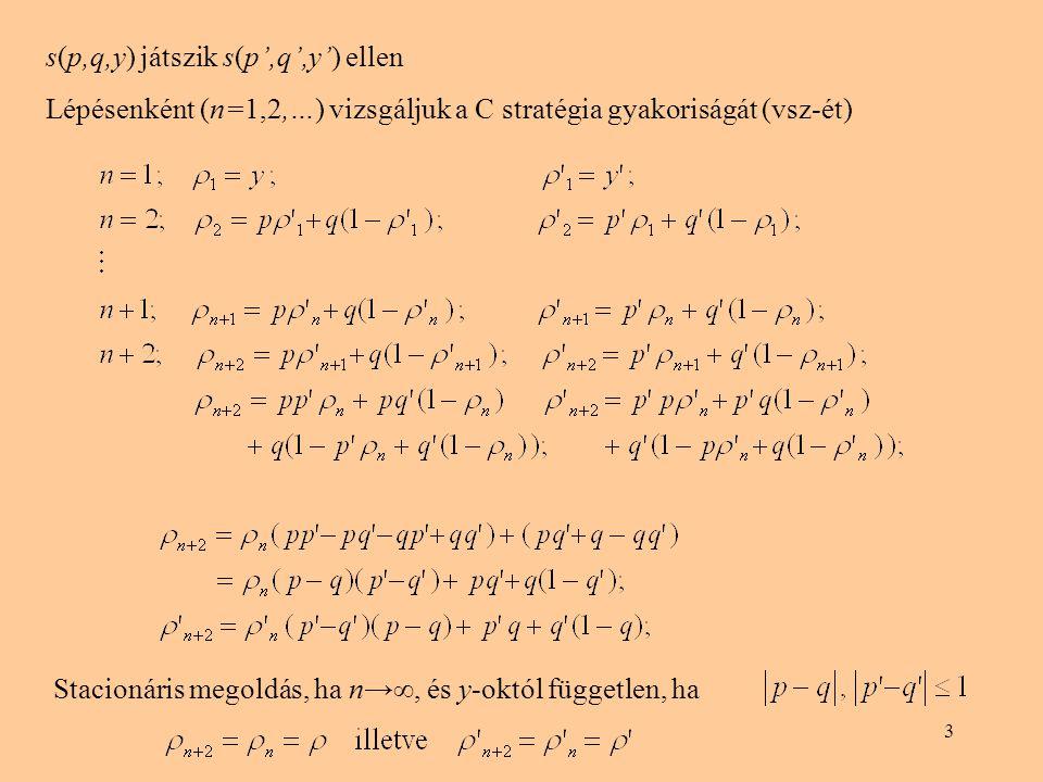 s(p,q,y) játszik s(p',q',y') ellen