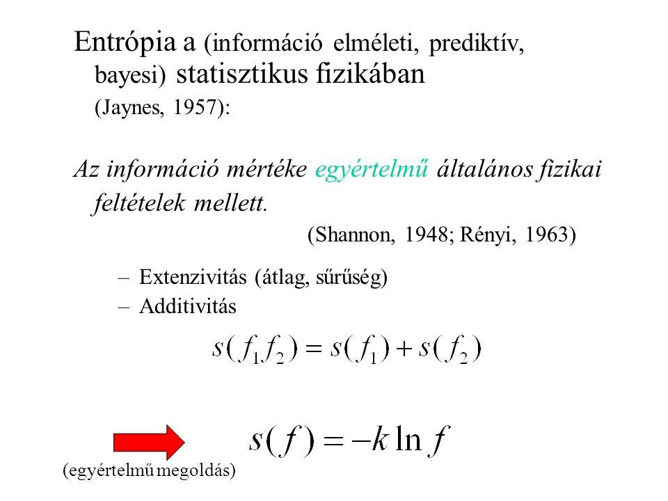 Entrópia a (információ elméleti, prediktív, bayesi) statisztikus fizikában