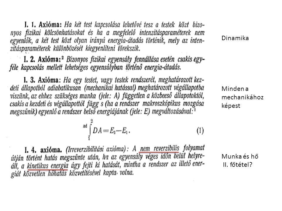 Dinamika Minden a mechanikához képest Munka és hő II. főtétel