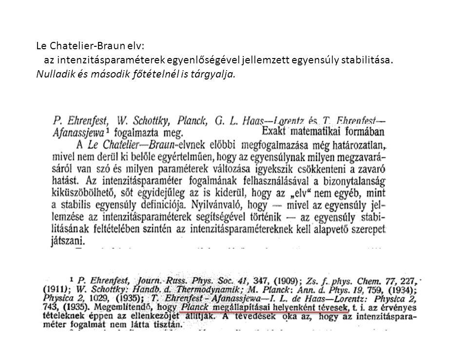 Le Chatelier-Braun elv: