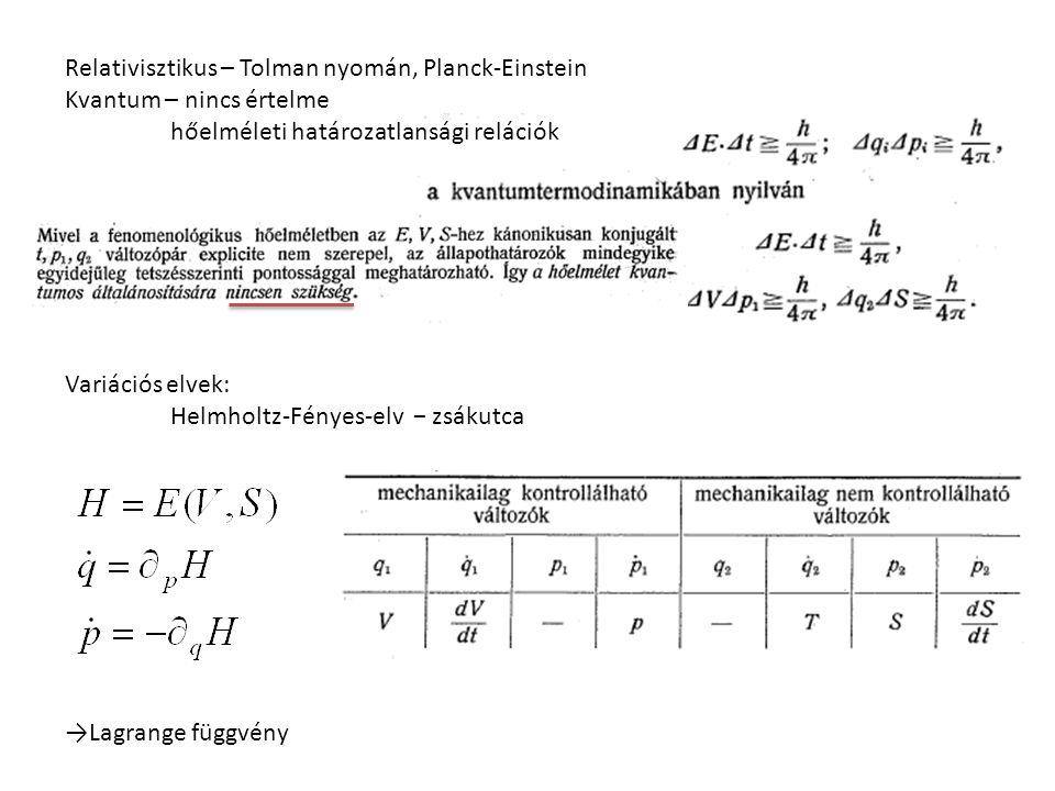 Relativisztikus – Tolman nyomán, Planck-Einstein