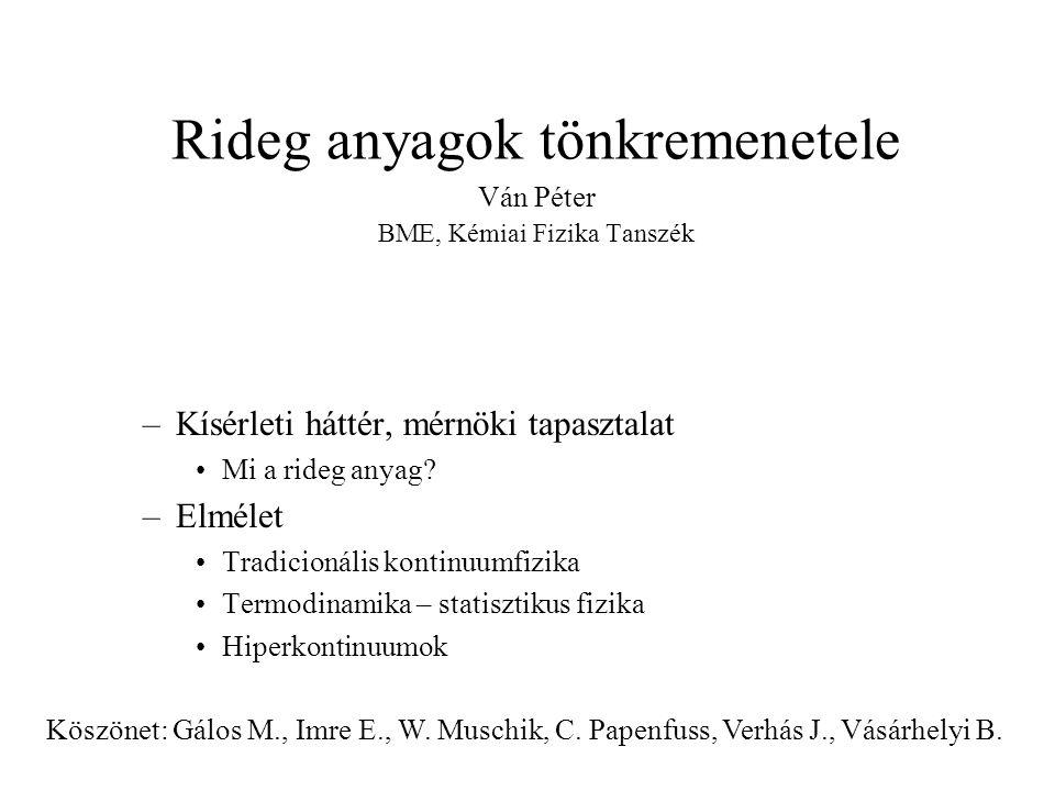 Rideg anyagok tönkremenetele Ván Péter BME, Kémiai Fizika Tanszék