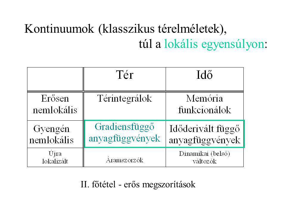 Kontinuumok (klasszikus térelméletek), túl a lokális egyensúlyon: