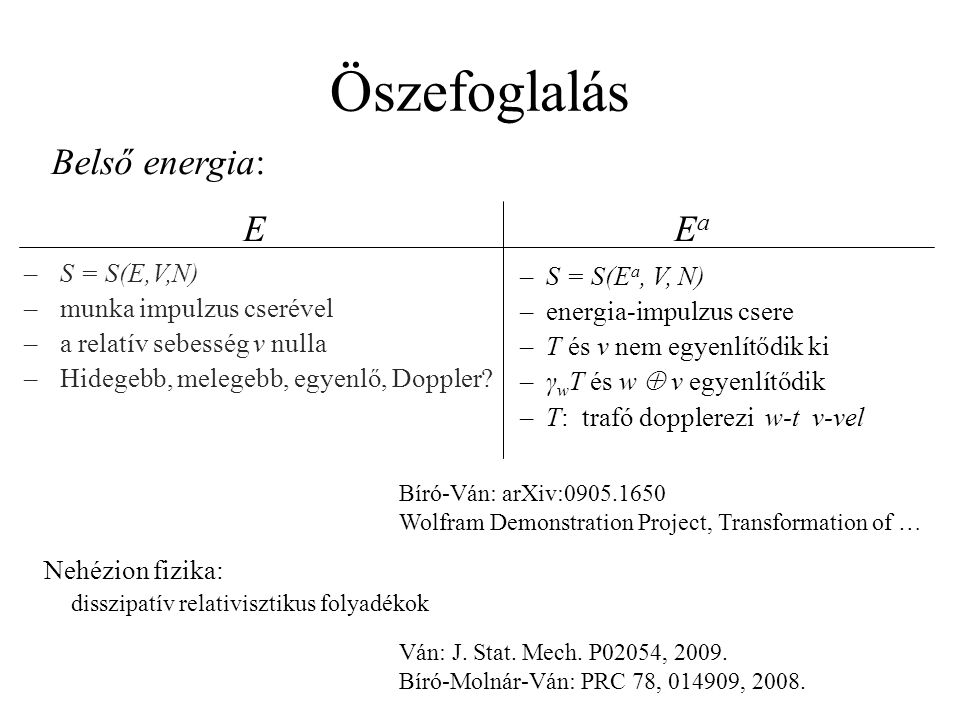 Öszefoglalás Belső energia: E Ea S = S(E,V,N) munka impulzus cserével