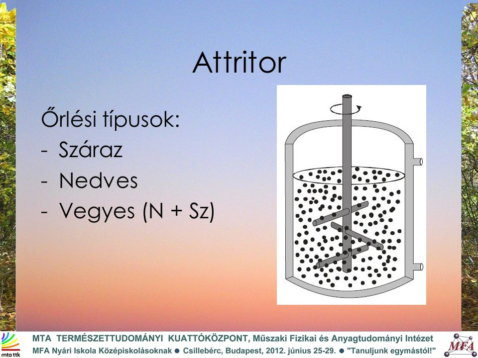 Attritor Őrlési típusok: Száraz Nedves Vegyes (N + Sz)