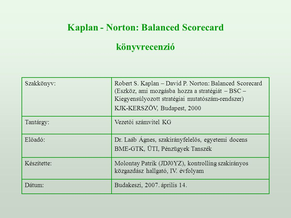 Kaplan - Norton: Balanced Scorecard könyvrecenzió