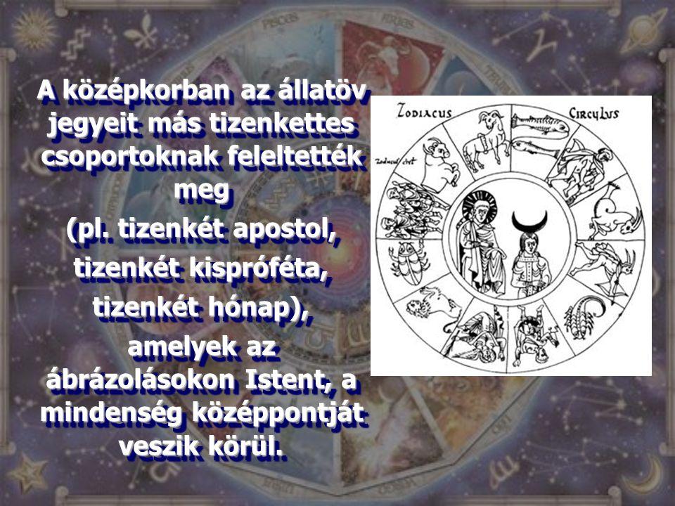 A középkorban az állatöv jegyeit más tizenkettes csoportoknak feleltették meg